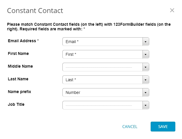 Constant Contact customization settings