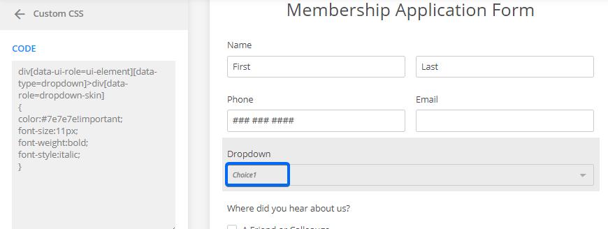 Custom CSS web forms
