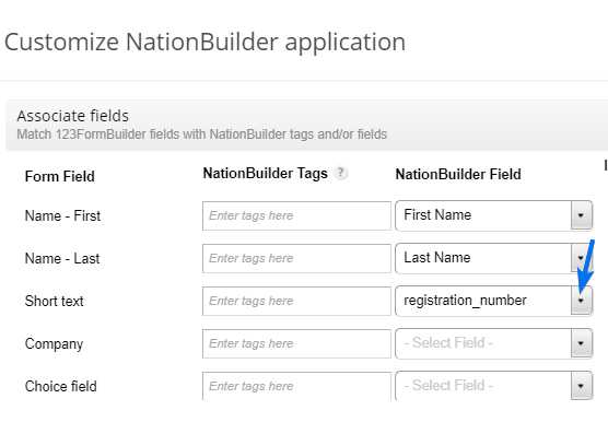 set up custom fields for NationBuilder