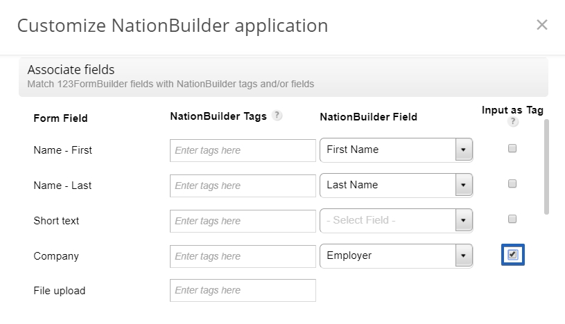 Nation Builder 123FormBuilder integration