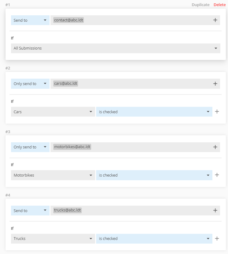 123FormBuilder send notifications to multiple email addresses