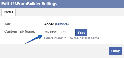 How to change the 123FormBuilder tab name in Facebook?