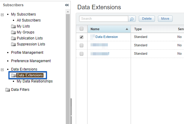 salesforce marketing cloud data extensions
