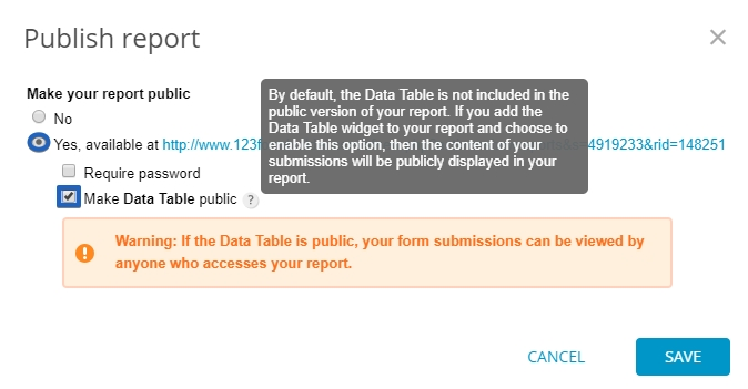 123FormBuilder how to make Data Table Report public