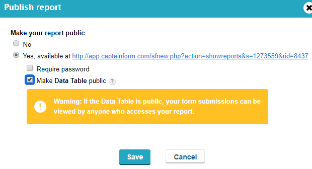 how to make Data Table Report public