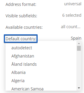 123FormBuilder how to set default country for
