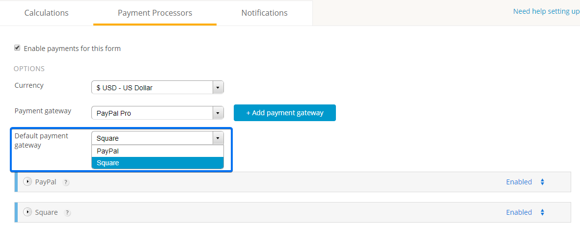 Select Default Payment Processor