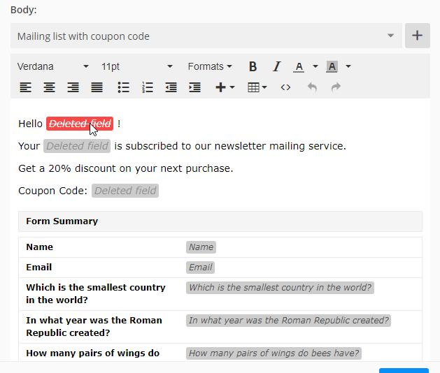Email template 123FormBuilder
