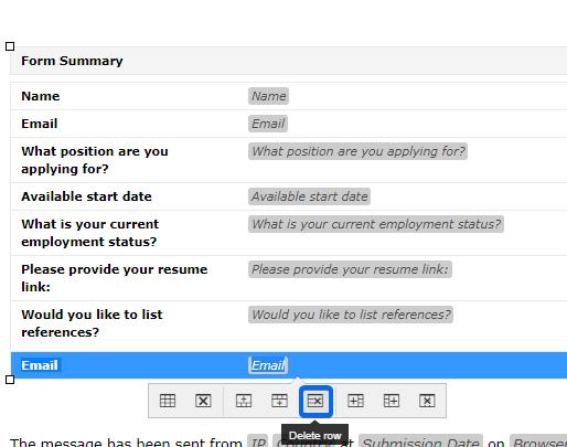 delete email row