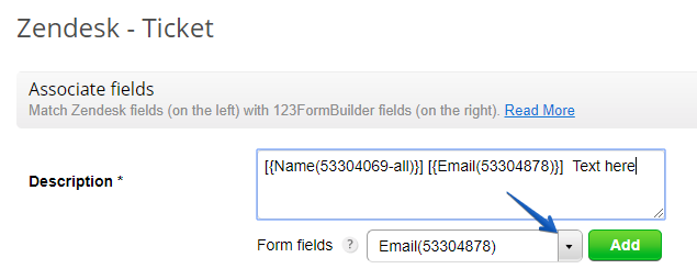 123FormBuilder Zendesk add multiple fields in description area