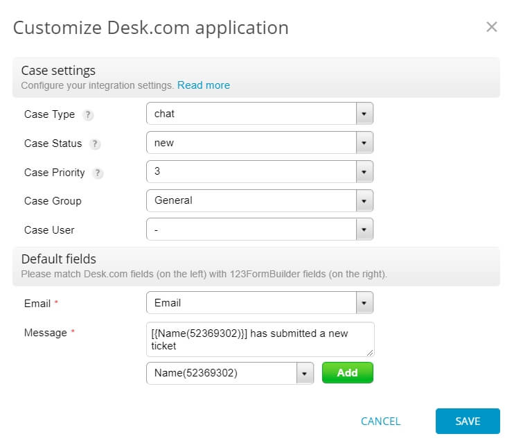 123formbuilder desk.com integration setup