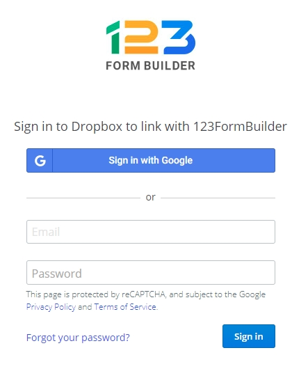 123FormBuilder Dropbox integration