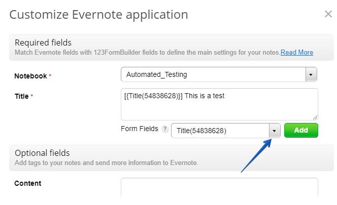 123FormBuilder Evernote integration application