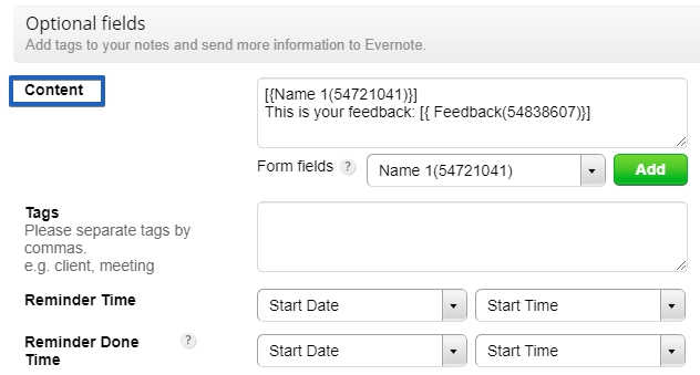 123FormBuilder how to customize Evernote integration