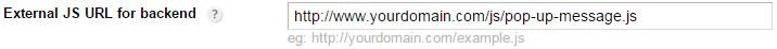 External JS URL for backend