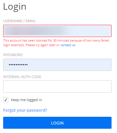 How many login attempts does 123FormBuilder allow