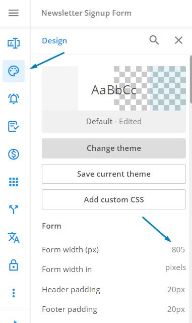 change form width