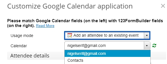 Google Calendar - Add attendee customization