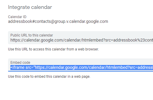 add google calendar to web form
