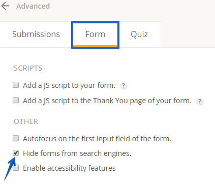 Hide Form from search engines