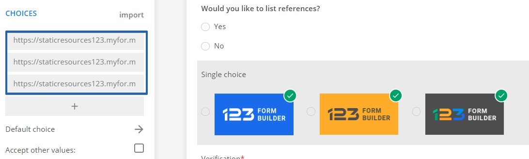 images as radio buttons