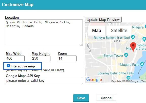 CaptainForm Google interactive map