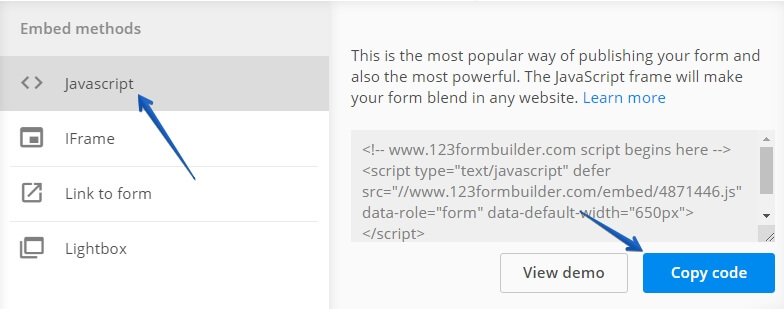 Embed Form on IM Creator