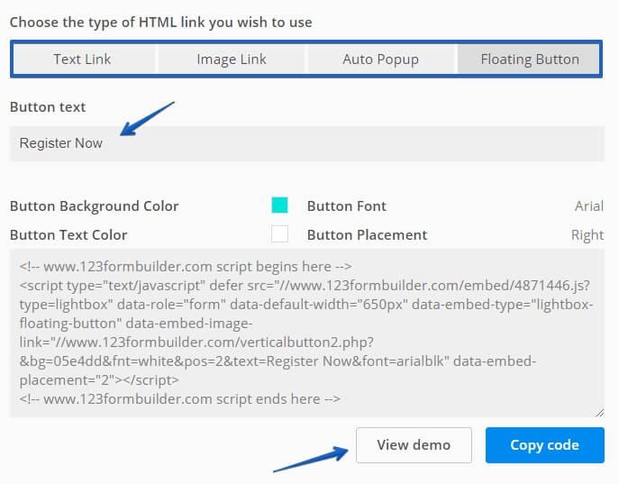 JS, HTML or Iframe - Embed code for forms | 123FormBuilder