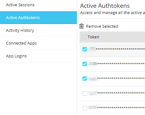 Zoho CRM - Settings - Active Authtokens