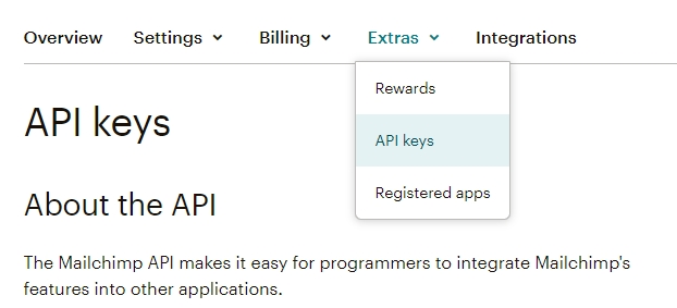 mailchimp form integration - retrieving API key