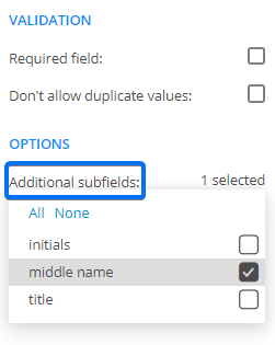 middle name form field