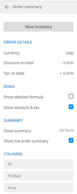 payment summary and discounts