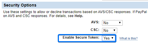 PayPal Secure Token
