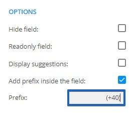 prefix in a field