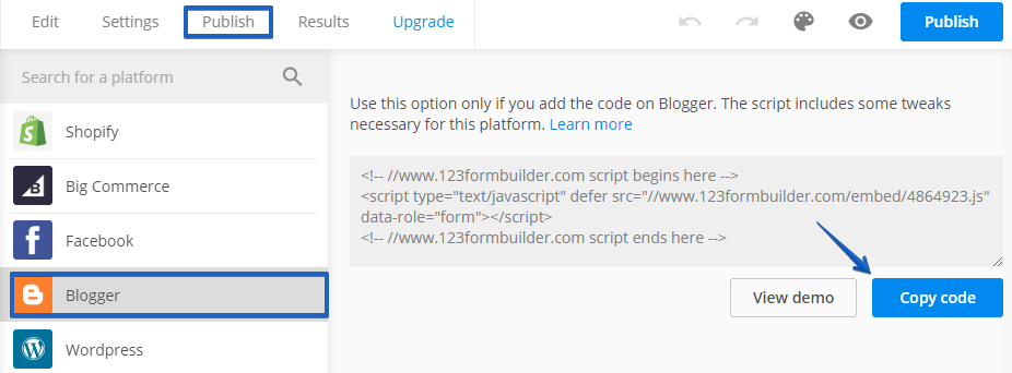 Publish Form on Blogger