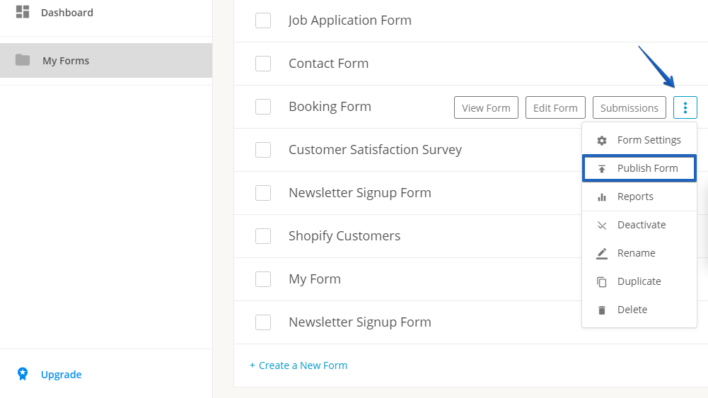 Publish web forms to your Shopify page