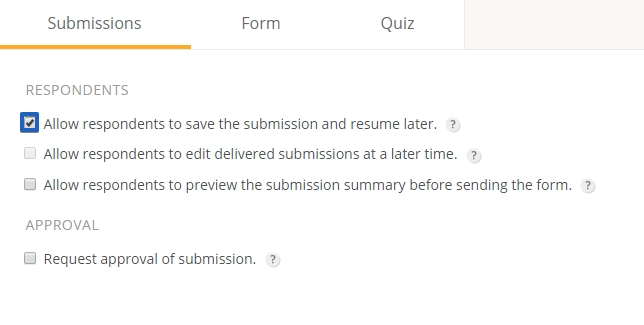 Save and Resume Form Submissions