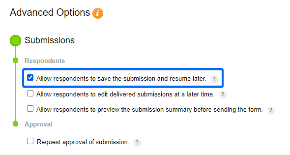 Save and Resume submission