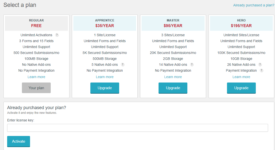 Upgrade Account - Plans - WordPress Form Builder Plugin