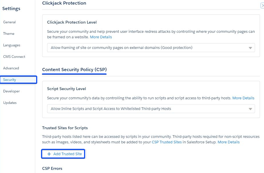 salesforce content security policy location