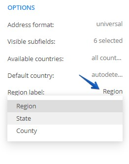 123FormBuilder how to replace Region subfield with State