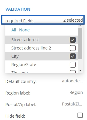 Address field advanced options