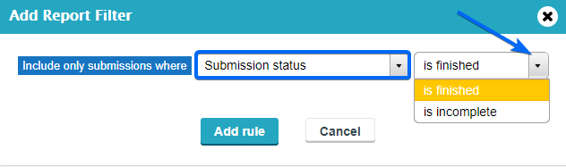 Filter Submission Status in Report