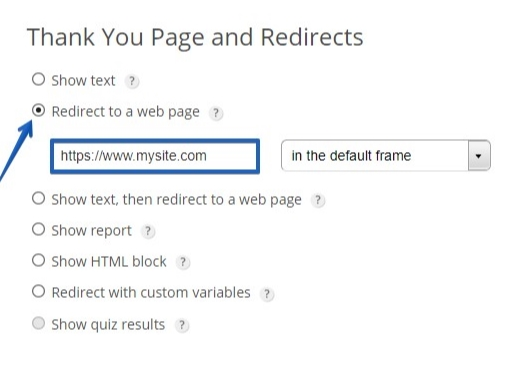 Redirect to a webpage