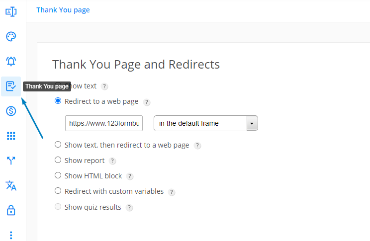 123FormBuilder customize Thank You page