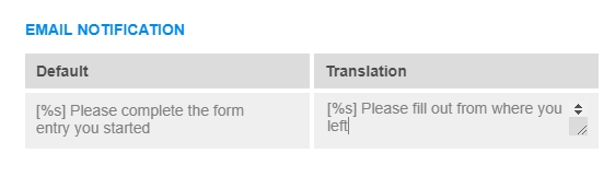 translate form messages with links
