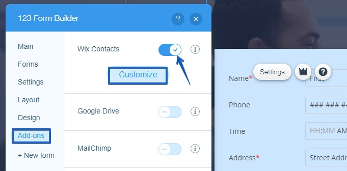 Wix Contacts 123FormBuilder