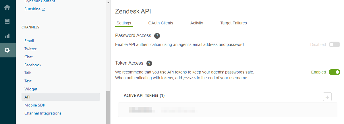 123FormBuilder Zendesk enable API token