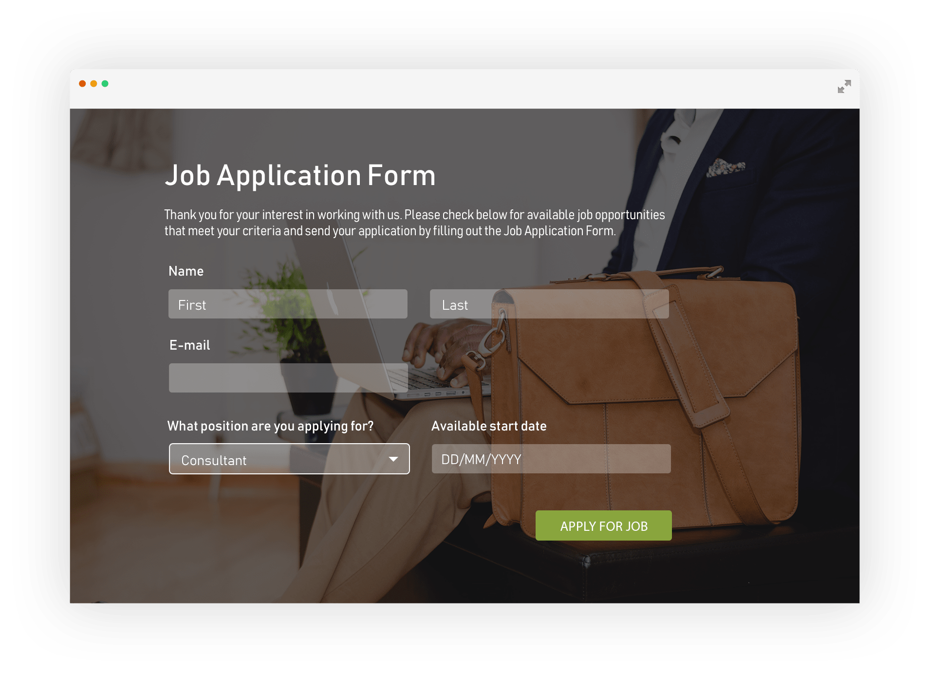 electronic job application form