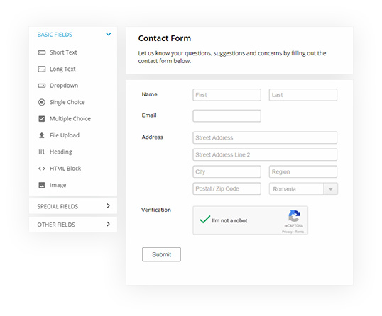 php form features
